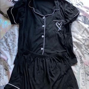 Black cotton pj set